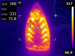 Infrared image of uneven heating of household iron