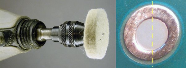 Left: Dremel High-Speed Rotary Tool with buff. Right: Right side of PCB pad moderately buffed.