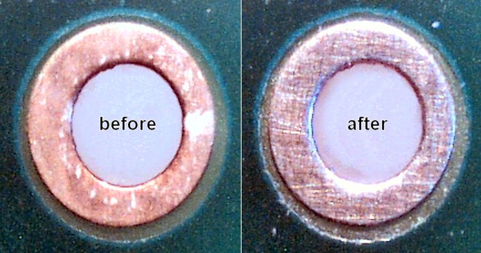 Zoomed in view of a tarnished circuit board hole before and after using Scotch Brite No Scratch scour pads.