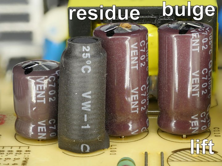 Bad electrolytic capacitors with residue bulging and lift
