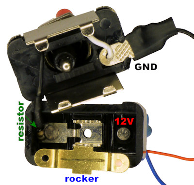 Inside a toggle switch with LED