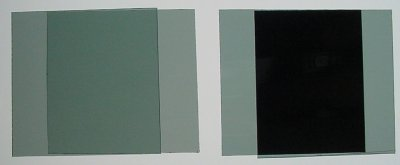 Left: Two pieces of polarizing film overlapped parallel. Right: Two pieces overlapped orthogonally.
