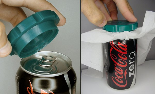 Cleaning an aluminum can top with the prototype device