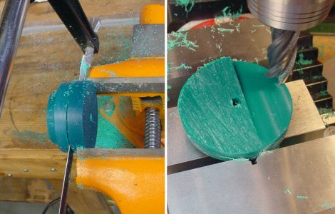 Left: Cutting off excess rod length using a hacksaw. Right: Smoothing the surface on a milling machine.