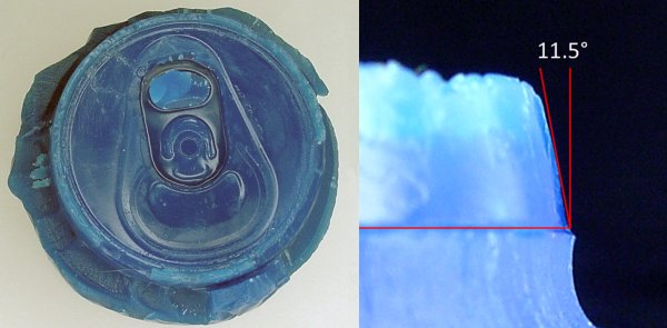 Left: A wax impression of the top of an aluminum can. Right: Using a drawing program to measure the angle of the lip.