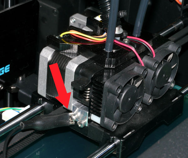Alligator clip attached to 3D printer print head