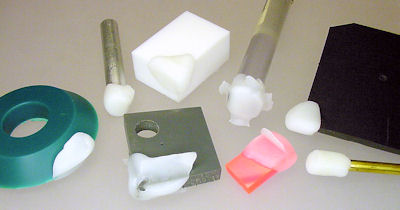 Testing bonding of ShapeLock on various materials.