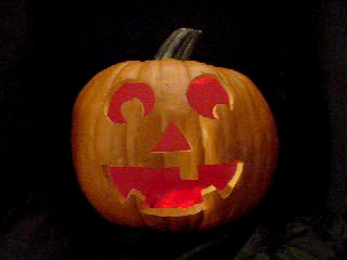 Click to see a movie of a pumpkin with red flashing LEDs.