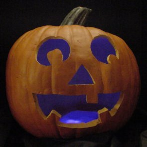 Pumpkin lit with ultraviolet LEDs instead of a candle.