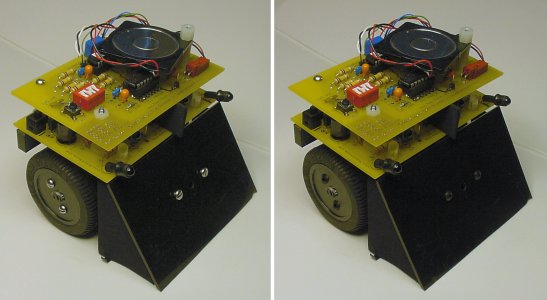 Switching from bright, highly-reflective stainless steel screws (left) to dark black-oxide coated screws further camouflages the Roundabout mini-sumo robot.