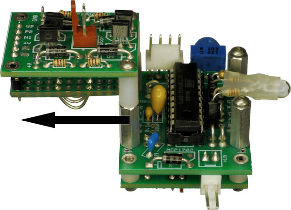 Left motor driver offset to access microcontroller during development