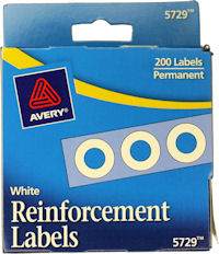 Avery 5729 white reinforcement labels