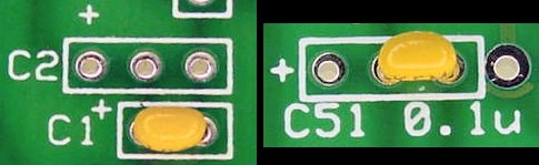 Small value capacitors are usually non-polarized. Wide capacitors fit in the first and third holes. Small capacitors fit in the second and third holes.