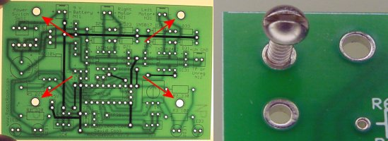 Left: Roundabout PCB #4 screw hole pattern matches Sandwich PCB. Right: The daughterboard also includes smaller holes for tapping, if desired