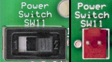 Left: Power switch installed directly. Right: Molex connector for off-board power switch