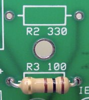 Resistors are non-polarized and can be inserted with either pin in either hole