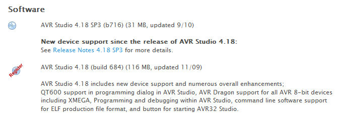 Download section for AVR Studio