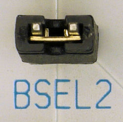 STK500 BSEL2 jumper for high-voltage programming.