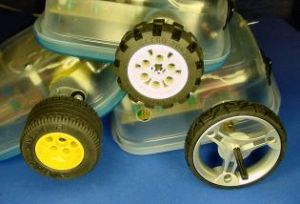 Three different LEGO wheels