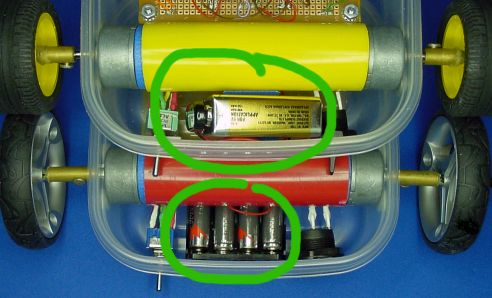 Sandwich uses a 9 V battery (top) where as Red Sandwich uses a 6 V battery pack
