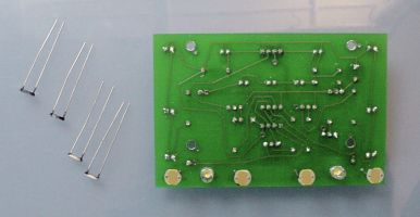 Photoresistors inserted on opposite side of board from the majority of the components