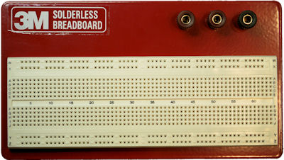 3M solderless breadboard with three binding posts and 840 tie points