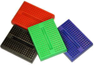 Color solderless breadboards (red, blue, black, and green) with 170 tie points