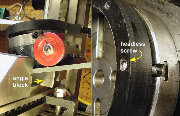 Left: A rotary table in a milling vise tilted to 15 degrees by an angle block. Right: Headless screws stay out of the way of the end mill.
