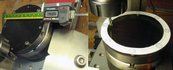Left: Checking the diameter of a disc with calipers. Right: A paper template roughly aligns an end mill for machining the inner diameter.