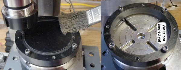 Milling the inner diameter of a disc with straight (vertical) walls.