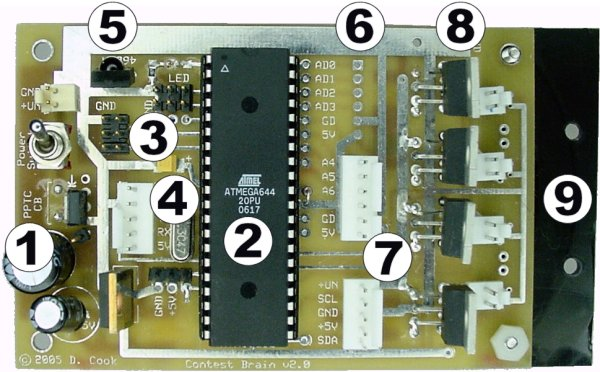 Custom-manufactured robot motherboard with voltage regulator, microcontroller, and four motor drivers.