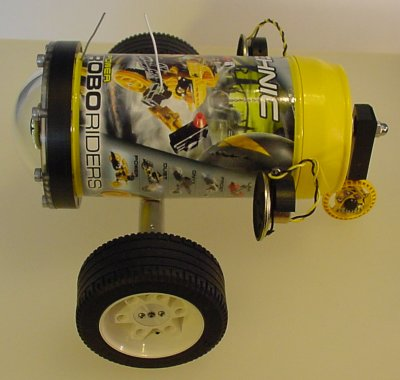 A side view of a wireless exploration robot.