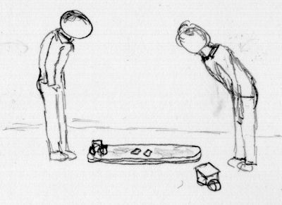 Two poorly-drawn contestants bowing to each other at the start of a match
