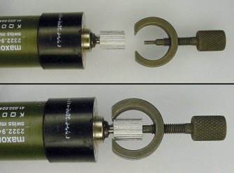 Top: Motor with gear and the gear puller tool. Bottom: Removing gear by turning screw.