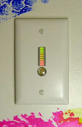 Water softener monitor wall plate on a decorated wall.