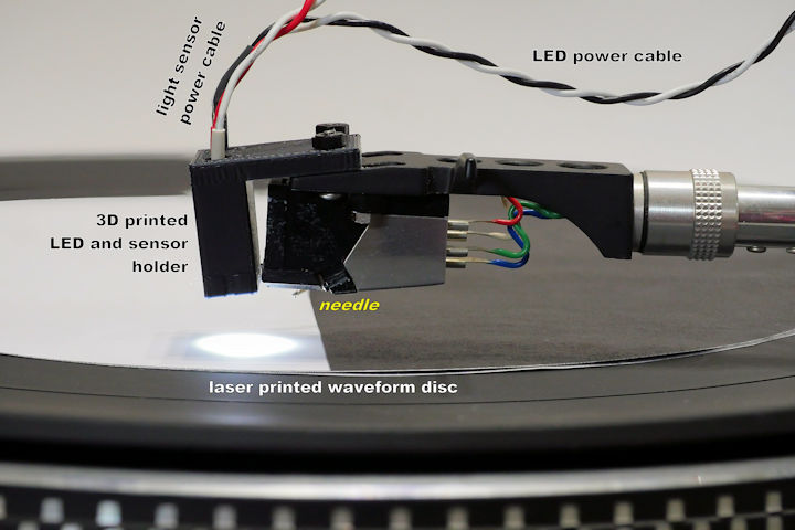 Light sensor atop record player needle