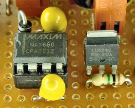 Maxim MAX660 voltage doubler and International Rectifier IRLU024 HEXFET